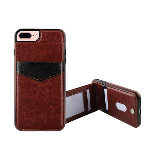 Brown leather cover with credit card stand Tpu Crystal Case